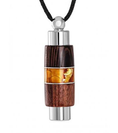 """Pendant """"Indonesia"""" made of wood and amber with a bottle for perfume"""