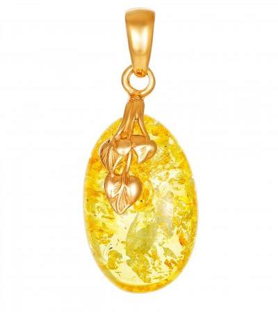 """Sparkling pendant made of natural amber in a gilded setting """"Versailles"""""""