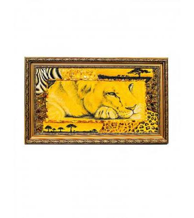 """Painting from natural amber """"Lion in a mat"""""""