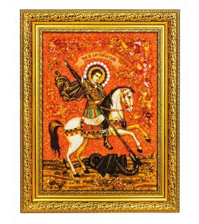 """Icon of natural amber and stones """"St. George the Victorious"""""""