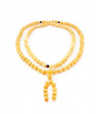 Rosary from natural molded amber of dark honey color for 108 beads