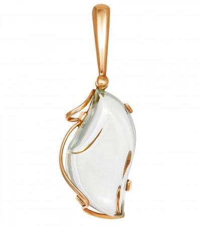 Красивая подвеска из золота 585 пробы с празиолитом «Серенада»