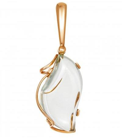 "Beautiful pendant made of 585 karat gold with prasiolite ""Serenade"""