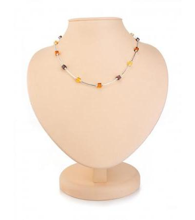 """Stylish necklace made of silver and natural amber of different shades """"Refined"""""""