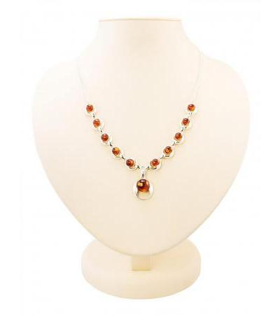 """Magnificent necklace made of natural cognac amber in silver """"Orion"""""""