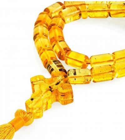 "Orthodox rosary made of natural amber ""Lemon olives"""