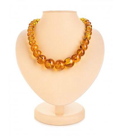 "Elegant large beads made of natural amber ""Crumpled golden-cognac ball"""