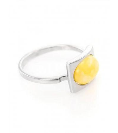 """Stylish silver ring """"Ellipse"""" with natural honey-colored amber"""