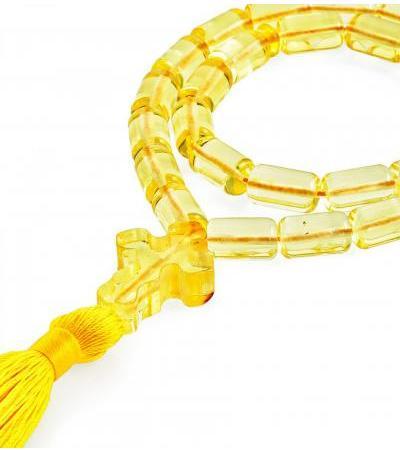 Light Orthodox rosary for 33 barrel beads made of natural lemon amber