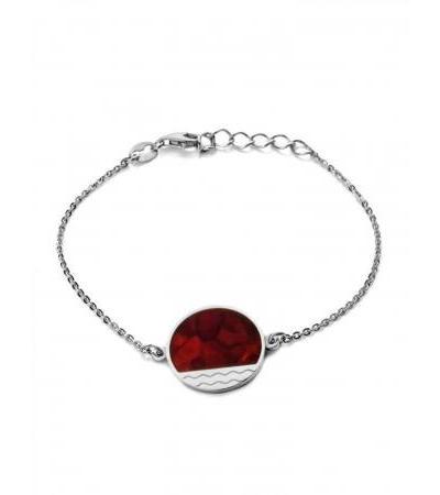 "Stylish silver bracelet with natural cherry amber ""Monaco"". Amber®"