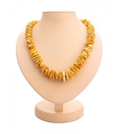 "Stylish beads made of natural Baltic amber and beads ""Dark honey chips"""