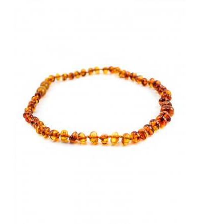 "Natural amber beads for children ""Pebbles cognac"" for children"