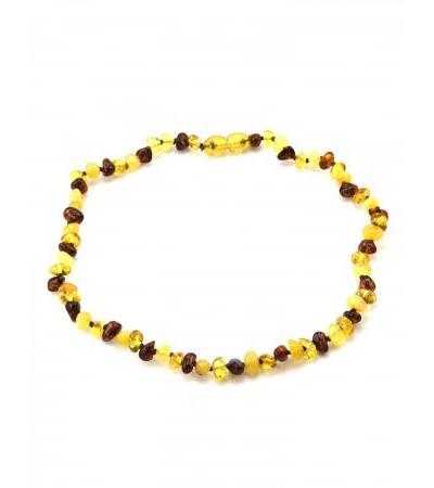 "Children's necklace from natural Baltic amber of lemon, honey and cognac flowers ""Motley Pebbles"" for children"