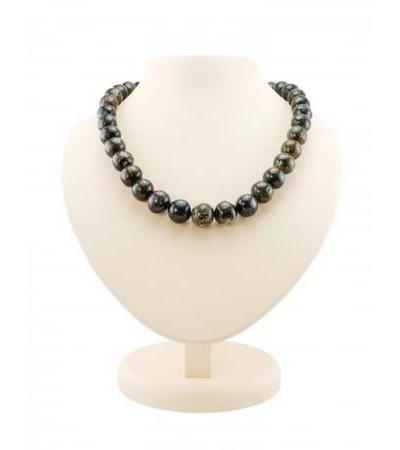 "Natural amber beads ""Black polished meteorite"""