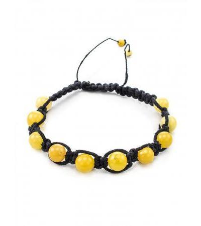"Bracelet ""Shambala"" with natural Baltic amber honey color"