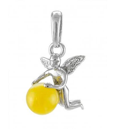 """Delicate pendant made of silver with natural honey-colored amber """"Angel"""""""