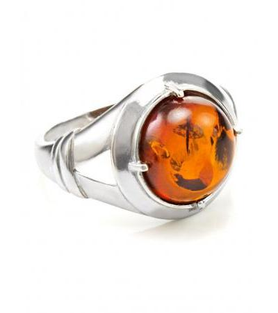 """Large men's ring made of silver with natural Baltic amber """"Caesar"""""""
