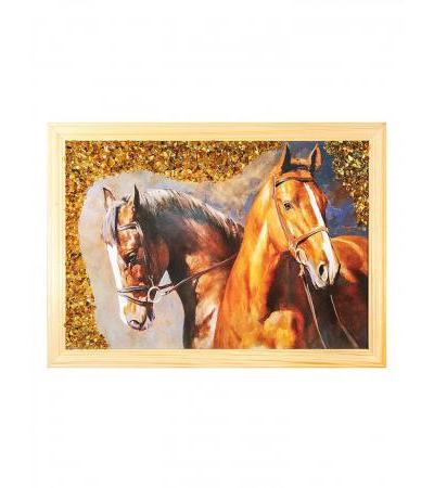 Painting decorated with natural Baltic amber 23 (H) x 32 (W)