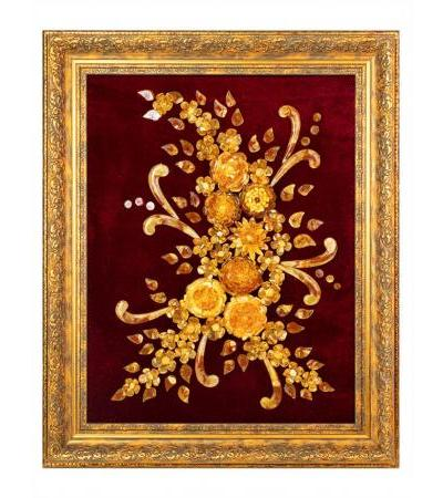 """Beautiful painting from natural amber on red velvet """"Summer bouquet"""""""
