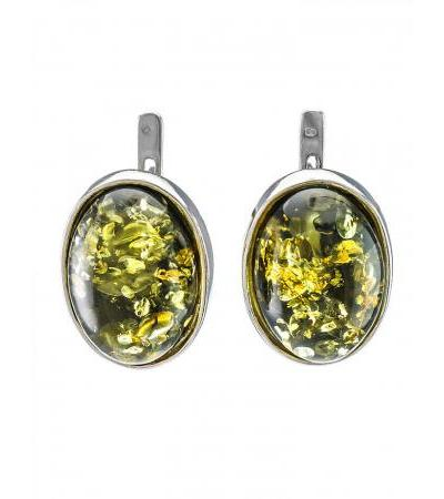 """Silver earrings with an oval inset made of green amber """"Goji large"""""""