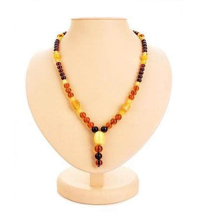"Bright beads with ""Beijing"" pendant made of natural solid amber"
