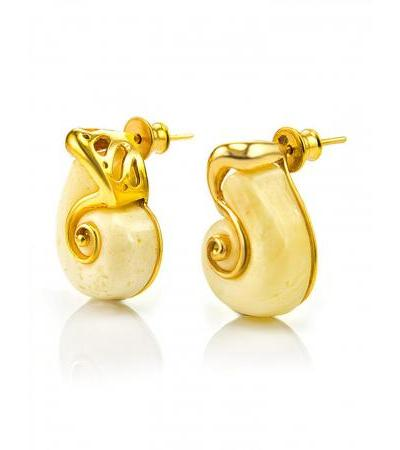 """Earrings-studs made of natural molded amber and gilded silver """"Snail"""""""