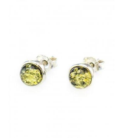 """Bright earrings-studs made of silver with inlays of natural Baltic amber of green color """"Berries"""""""