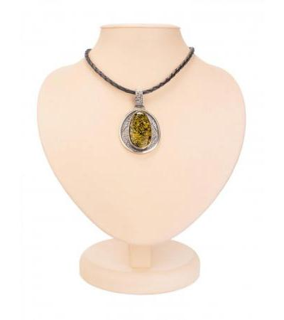 "Necklace on a string with a silver pendant, decorated with green amber ""Cairo"""