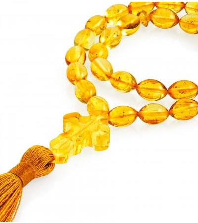Small Orthodox rosary made of natural amber lemon color