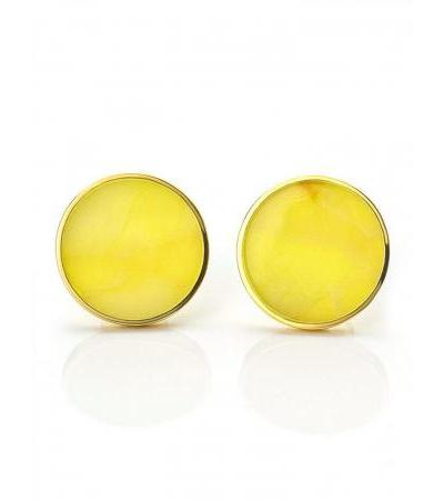Stylish earrings with Monaco studs made of gilded silver and amber. Amber®
