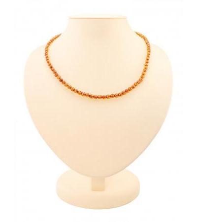 """Sparkling beads made of natural Baltic amber """"Diamond tea caramel"""""""