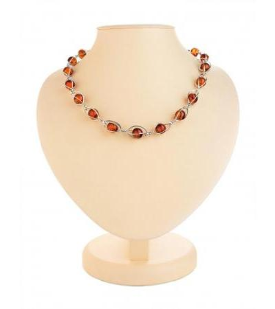 "Silver necklace ""Algeria"" with natural cognac-colored amber"