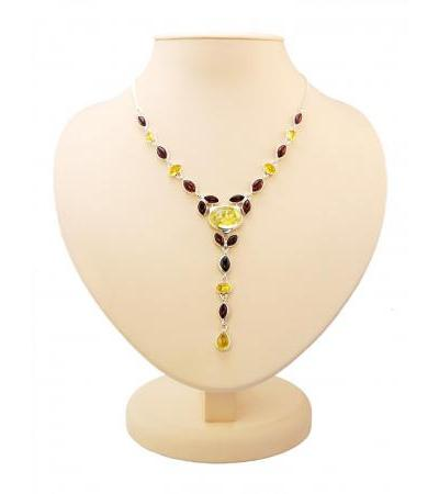 """Amazing silver necklace with inserts made of natural Baltic amber """"Josephine"""""""
