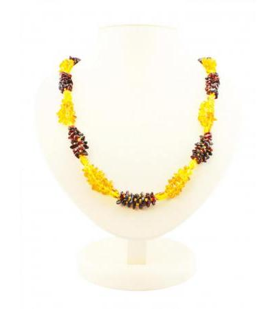 "Amber necklace made of pebble beads of cognac and cherry flowers ""Two-tone pigtail"""