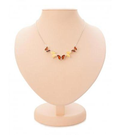 """Elegant silver necklace with natural amber in two colors """"April"""""""