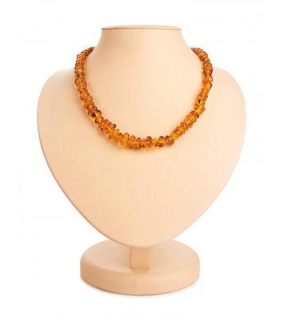 "Shining beads made of natural amber ""Small cognac pebbles"""