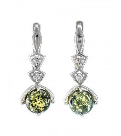 """Graceful earrings made of silver with green amber and """"Sambia"""" zircons"""