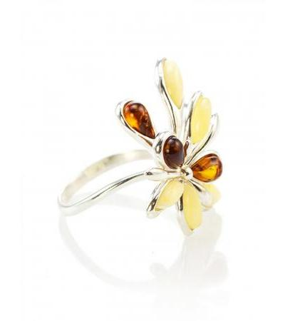 """Luxurious ring in silver with cognac and honey amber """"Dahlia"""""""