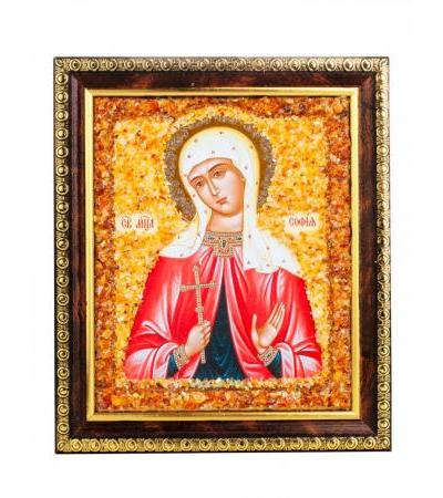 """Nominal icon decorated with natural amber """"Holy Martyr Sophia"""""""