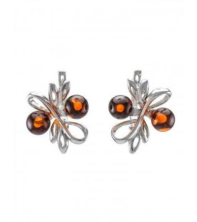 "Elegant earrings ""Galatea"" in silver with cognac amber"