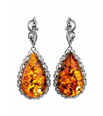 """Exquisite earrings """"Luxor"""" made of silver and natural amber"""