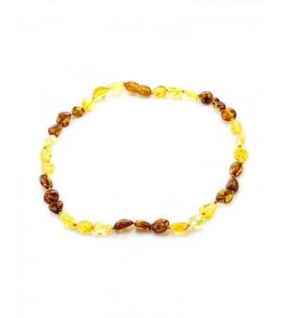 "Children's amber necklace ""Olives"" of lemon and cognac flowers for children"