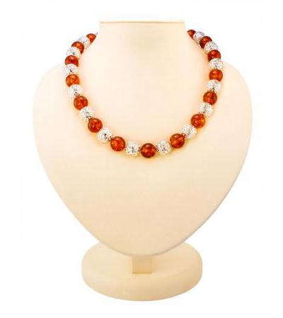 """Spectacular beads from natural molded cognac amber and silver """"Aphrodite"""""""