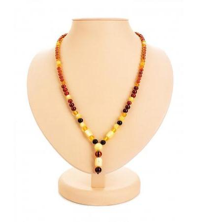 "Necklace with a pendant made of natural solid amber ""Beijing"""