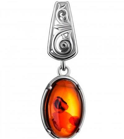 """Openwork pendant """"Mesopotamia"""" made of silver and natural cognac amber"""