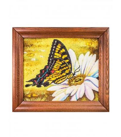 """A charming small painting from natural amber """"Butterfly"""""""