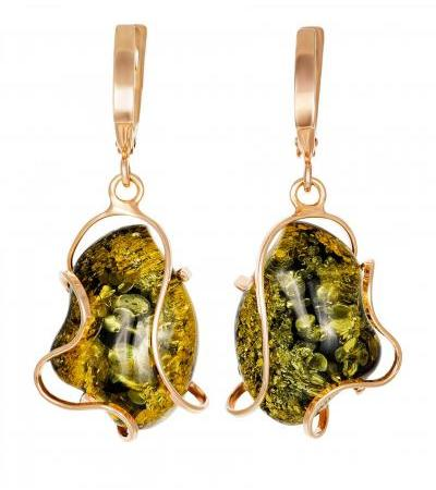 """Bright earrings made of gilded silver and green solid amber """"Rialto"""""""