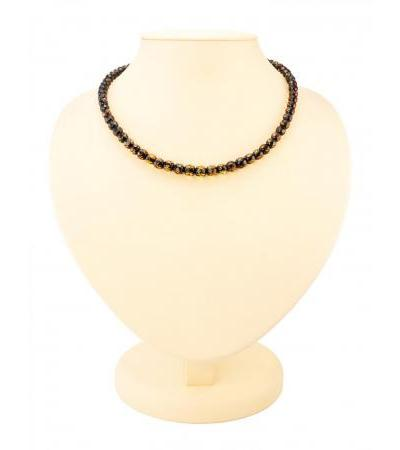 "Magnificent beads made of natural Baltic amber ""Tea caramel with diamond cut"""