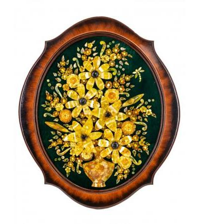 """Beautiful decorative panel from natural amber on green velvet """"Lilies"""""""