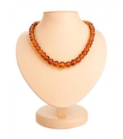 """Spectacular beads """"Crumpled ball"""" made of natural Baltic amber cognac color"""